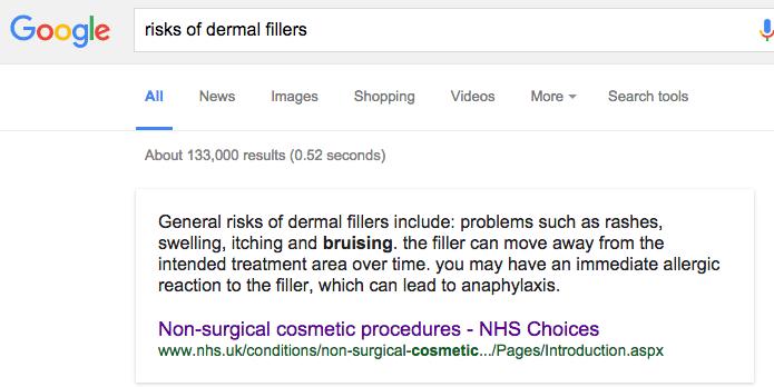 risks of dermal fillers - google search