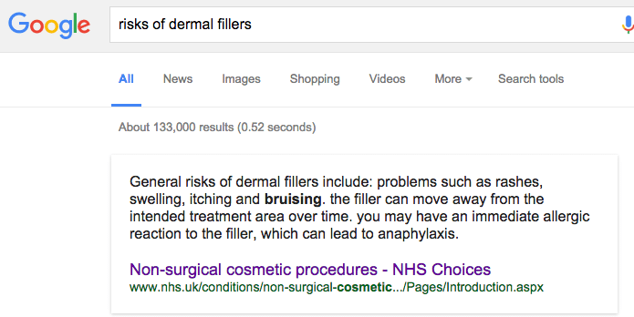 risks of dermal fillers - google search