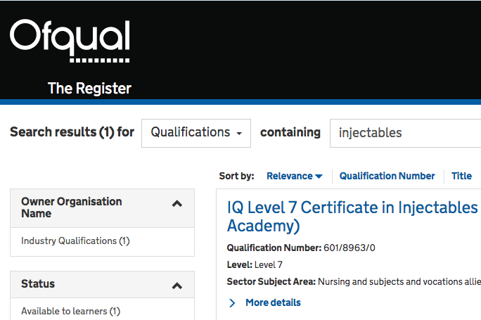 Harley Academy level 7 qualification on the Ofqual register