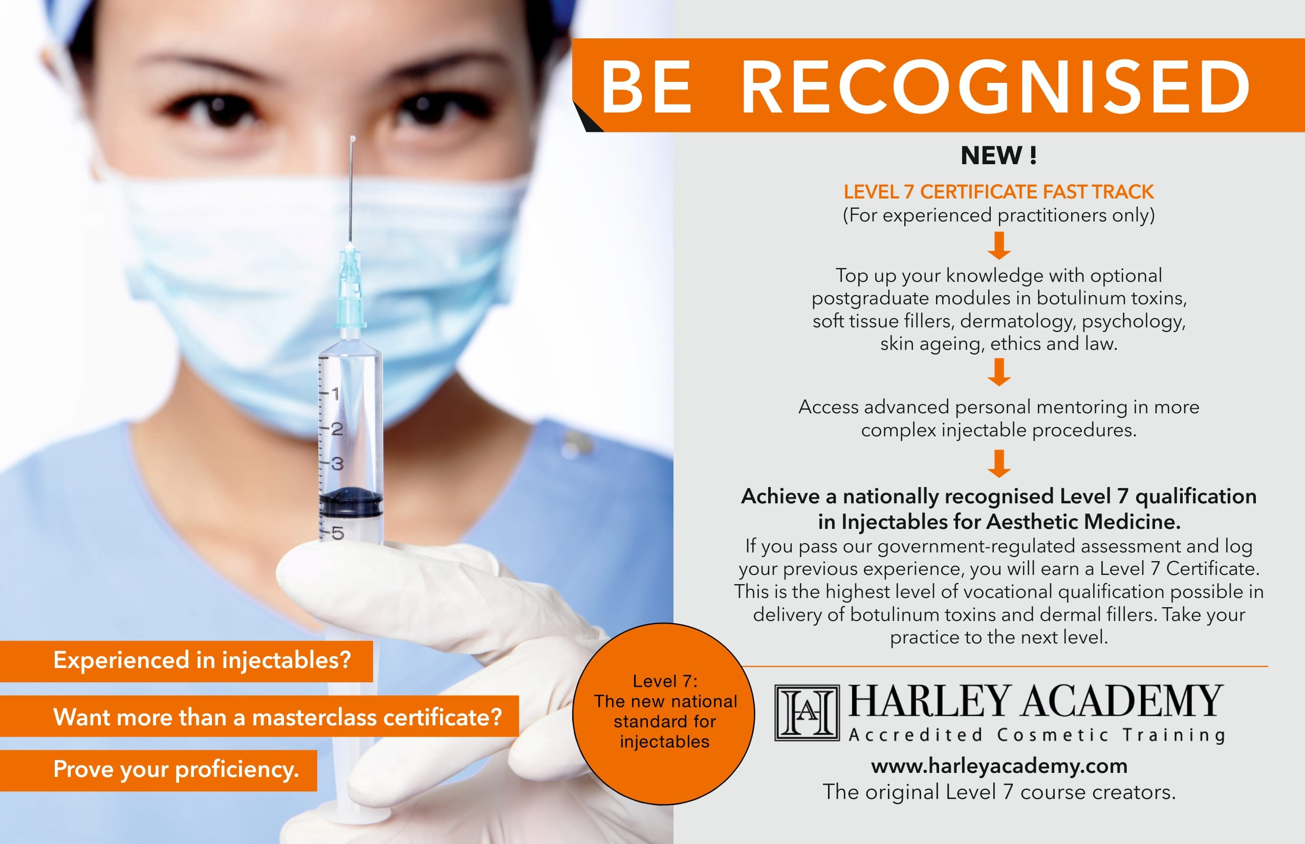 Level 7 injectables Fast Track Banner - L7 new national standard Harley Academy aesthetic medicine