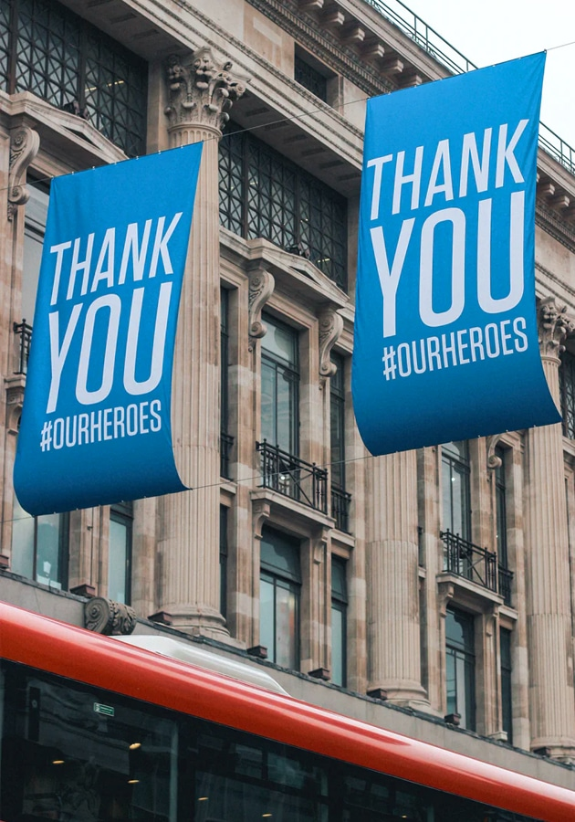 Thank You NHS Workers signs in London