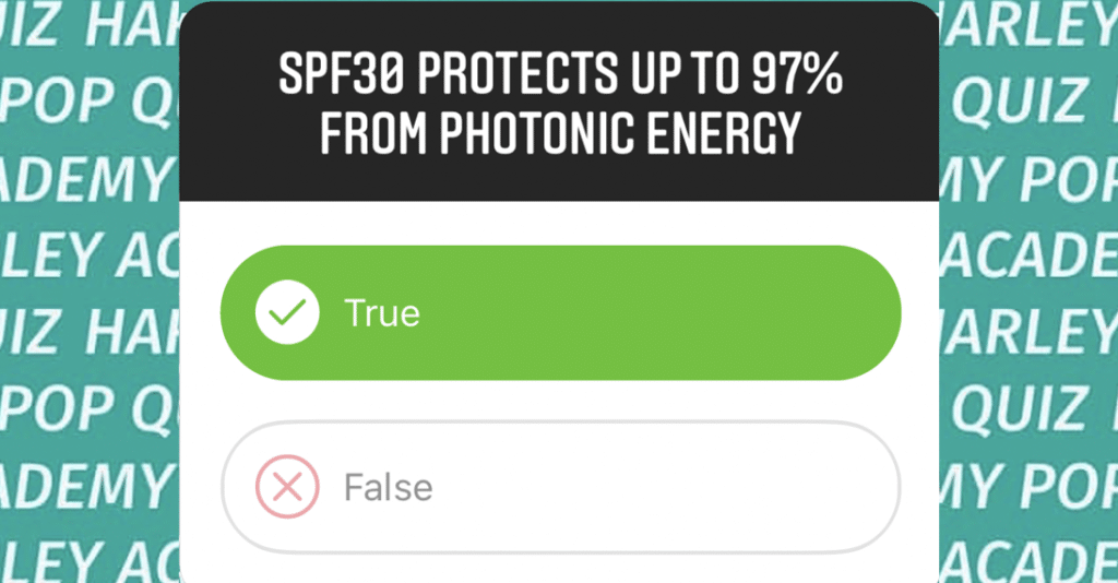 SPF 30 Protects 97 percent from photonic energy - Harley Academy SPF Pop Quiz Cosmetic Dermatology