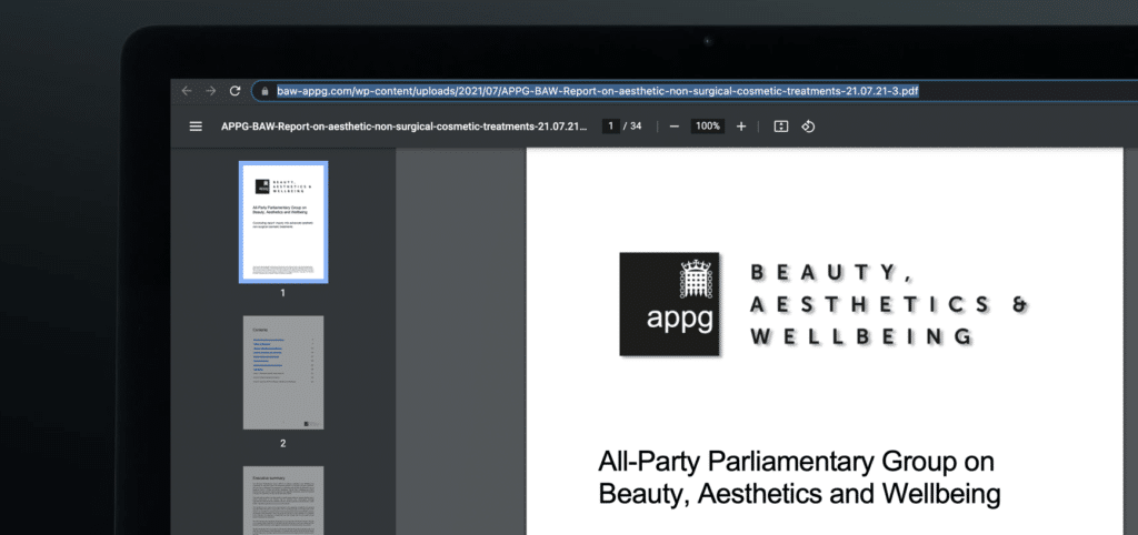1 All Party Parliamentary Group APPG Aesthetics Inquiry Report Non Surgical Cosmetic Injectables UK Statement Dr Tristan Mehta Harley Academy Aesthetic Medicine Training Courses Level 7