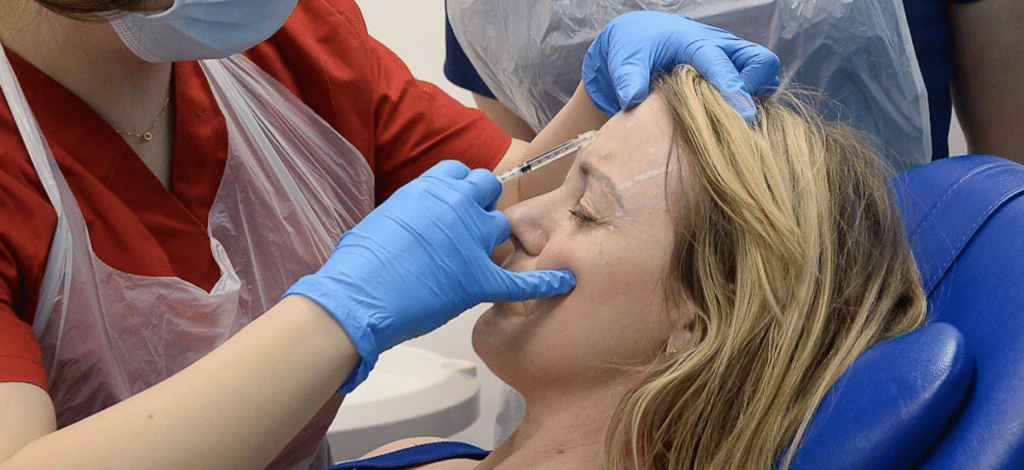 Overcoming the fear of injecting Botulinum-toxin-upper-face-aesthetic-treatment-injector-training-aesthetic-medicine-courses-level-7-Harley-Academy